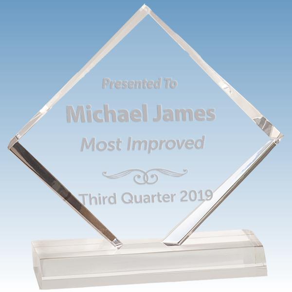 Scholastic Most Improved Diamond Jewel Bevel Acrylic Award