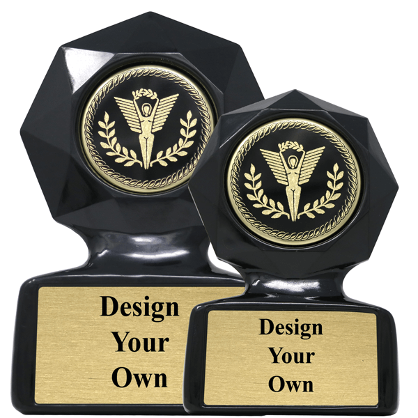 Design Your Own Black Star Sculpted Victory Trophy Award